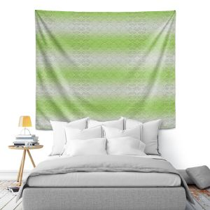 Artistic Wall Tapestry | Susie Kunzelman - North East 1 Soft Lime | Stripe pattern