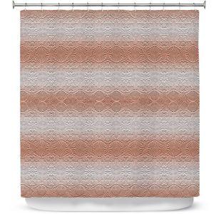 Premium Shower Curtains   Susie Kunzelman - North East 2 Salmon   Stripe pattern