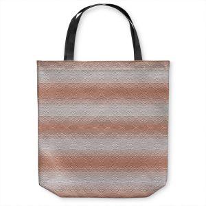 Unique Shoulder Bag Tote Bags | Susie Kunzelman - North East 2 Salmon | Stripe pattern