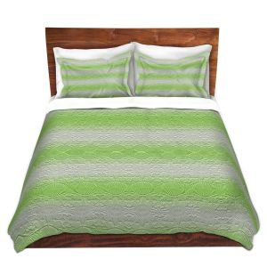 Artistic Duvet Covers and Shams Bedding | Susie Kunzelman - North East 2 Soft Lime | Stripe pattern