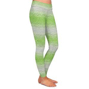 Casual Comfortable Leggings | Susie Kunzelman - North East 2 Soft Lime | Stripe pattern