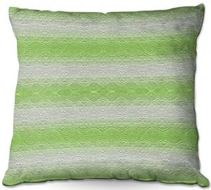 Decorative Outdoor Patio Pillow Cushion | Susie Kunzelman - North East 2 Soft Lime | Stripe pattern