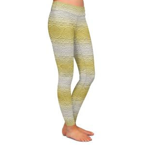 Casual Comfortable Leggings | Susie Kunzelman - North East 2 Spicy Mustard | Stripe pattern