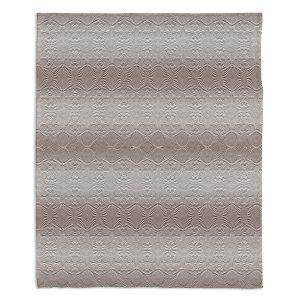 Decorative Fleece Throw Blankets | Susie Kunzelman - North East 2 Tan | Stripe pattern