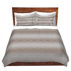 Artistic Duvet Covers and Shams Bedding | Susie Kunzelman - North East 2 Tan | Stripe pattern
