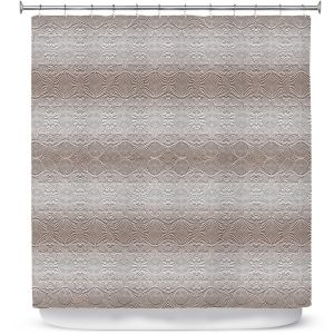 Premium Shower Curtains | Susie Kunzelman - North East 2 Tan | Stripe pattern