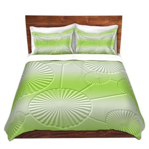 Artistic Duvet Covers and Shams Bedding | Susie Kunzelman - North East 3 Soft Lime | Stripe pattern