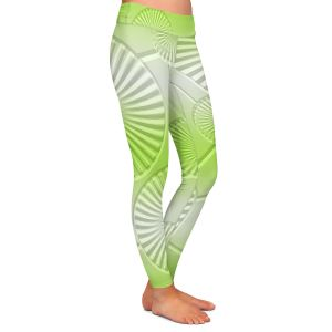 Casual Comfortable Leggings | Susie Kunzelman - North East 3 Soft Lime | Stripe pattern