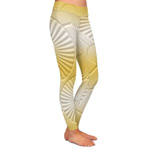 Casual Comfortable Leggings | Susie Kunzelman - North East 3 Spicy Mustard | Stripe pattern