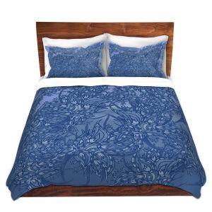 Artistic Duvet Covers and Shams Bedding | Susie Kunzelman - Nosegay Blue 2 | Flower Leaves Vines