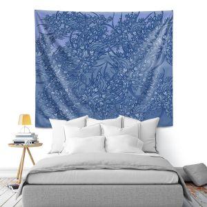 Artistic Wall Tapestry   Susie Kunzelman - Nosegay Blue 2   Flower Leaves Vines