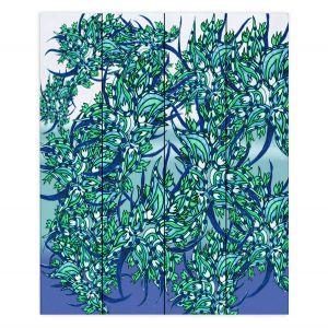 Decorative Wood Plank Wall Art   Susie Kunzelman - Nosegay Milky Blue   Flower Leaves Vines