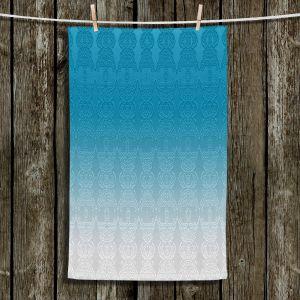 Unique Hanging Tea Towels | Susie Kunzelman - Ombre Pattern l Aqua | Ombre Pattern