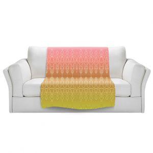 Artistic Sherpa Pile Blankets   Susie Kunzelman - Ombre Pattern ll Peach Pink