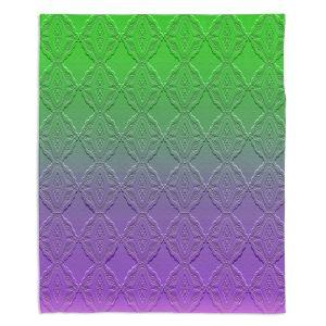 Artistic Sherpa Pile Blankets | Susie Kunzelman - Ombre Pattern lll Purple Green