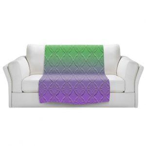 Artistic Sherpa Pile Blankets   Susie Kunzelman - Ombre Pattern lll Purple Green