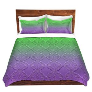 Artistic Duvet Covers and Shams Bedding | Susie Kunzelman - Ombre Pattern lll Purple Green