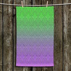Unique Bathroom Towels | Susie Kunzelman - Ombre Pattern lll Purple Green