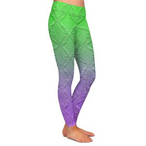 Casual Comfortable Leggings | Susie Kunzelman - Ombre Pattern lll Purple Green