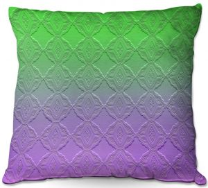 Decorative Outdoor Patio Pillow Cushion | Susie Kunzelman - Ombre Pattern lll Purple Green