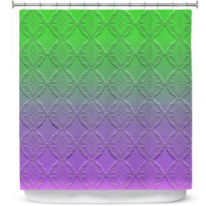 Premium Shower Curtains | Susie Kunzelman - Ombre Pattern lll Purple Green