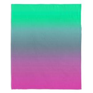 Decorative Fleece Throw Blankets | Susie Kunzelman - Ombre Pink Green