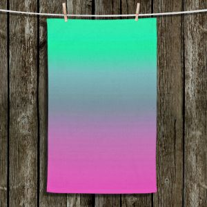 Unique Bathroom Towels | Susie Kunzelman - Ombre Pink Green