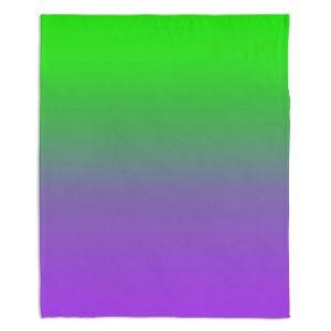 Decorative Fleece Throw Blankets | Susie Kunzelman - Ombre Purple Green