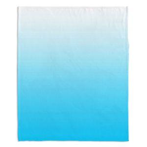 Decorative Fleece Throw Blankets | Susie Kunzelman - Ombre Sea Aqua