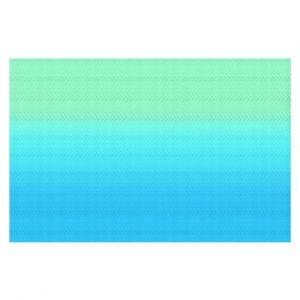 Decorative Floor Coverings | Susie Kunzelman - Ombre Turquoise Mint Blue