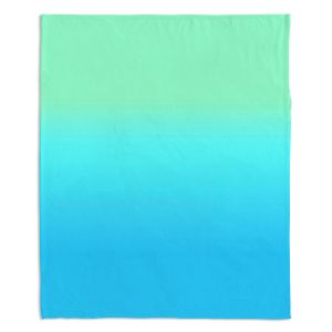 Artistic Sherpa Pile Blankets | Susie Kunzelman - Ombre Turquoise Mint Blue
