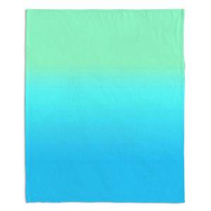 Decorative Fleece Throw Blankets | Susie Kunzelman - Ombre Turquoise Mint Blue