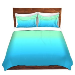 Artistic Duvet Covers and Shams Bedding | Susie Kunzelman - Ombre Turquoise Mint Blue