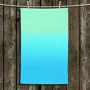 Unique Hanging Tea Towels | Susie Kunzelman - Ombre Turquoise Mint Blue | Ombre