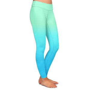 Casual Comfortable Leggings | Susie Kunzelman - Ombre Turquoise Mint Blue