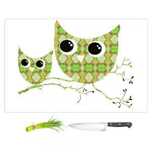 Artistic Kitchen Bar Cutting Boards | Susie Kunzelman - Owl Argyle Orange