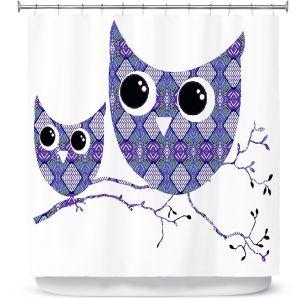 Premium Shower Curtains | Susie Kunzelman Owl Argyle Purple Blue