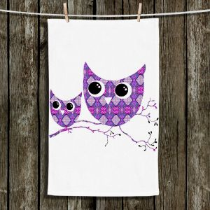 Unique Hanging Tea Towels | Susie Kunzelman - Owl Argyle Purple | Animals Birds