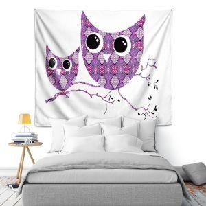 Artistic Wall Tapestry   Susie Kunzelman Owl Argyle Rose