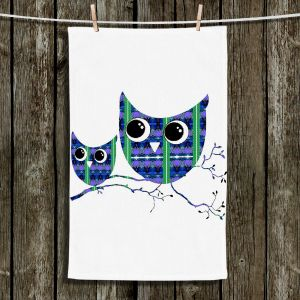 Unique Hanging Tea Towels | Susie Kunzelman - Owl Suspenders Blue | Animals Birds