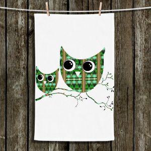 Unique Hanging Tea Towels | Susie Kunzelman - Owl Suspenders Green Brown | Animals Birds