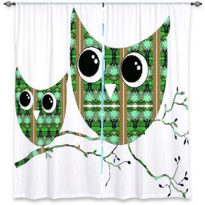 Decorative Window Treatments | Susie Kunzelman Owl Suspenders Green Brown