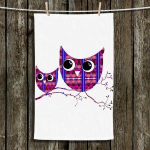 Unique Hanging Tea Towels | Susie Kunzelman - Owl Suspenders Pink | Animals Birds