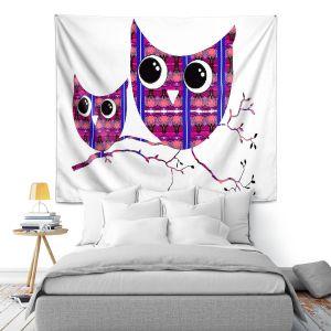Artistic Wall Tapestry | Susie Kunzelman Owl Suspenders Pink