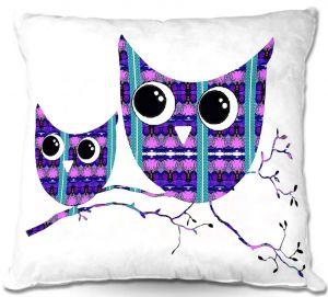 Throw Pillows Decorative Artistic | Susie Kunzelman's Owl Suspenders Purple Blue