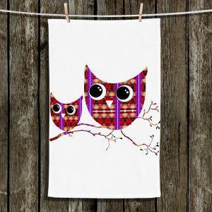 Unique Bathroom Towels | Susie Kunzelman - Owl Suspenders Red