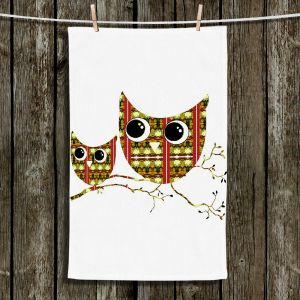 Unique Hanging Tea Towels | Susie Kunzelman - Owl Suspenders Yellow | Animals Birds