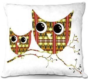 Decorative Outdoor Patio Pillow Cushion | Susie Kunzelman - Owl Suspenders Yellow