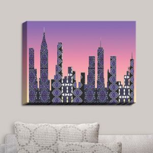 Decorative Canvas Wall Art | Susie Kunzelman - Pantone New York Skyline | Places NYC Skyline Downtown