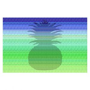 Decorative Floor Covering Mats | Susie Kunzelman - Pineapple Blue | fruit silhouette pattern